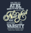 sport t-shirt graphics new york athletic apparel vector image vector image