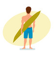 surfer stands with his back holding a board for vector image