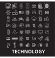 technology editable line icons set on black vector image