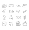 Travel and hotel line icons vector image vector image