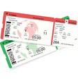 two airline boarding pass tickets for plane vector image vector image