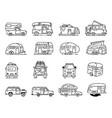 vintage hand drawn camper recreational trailers vector image