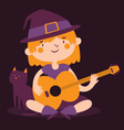Witch Girl Playing Guitar Next to her Cat vector image