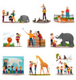 zoo visitors set vector image