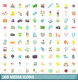 100 media icons set cartoon style vector image