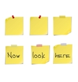 Yellow post it notes isolated on white background vector image