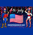 a girl and men celebrating independence day vector image vector image