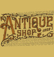 antique frame label vintage golden card shop vector image vector image