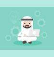 arab businessman sitting with laptop lightbulb vector image vector image