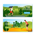 banners - rolling girl and golf playing man vector image vector image