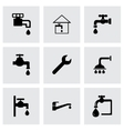 black plumbing icons set vector image