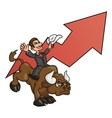 Businessman is riding bull 4 vector image vector image