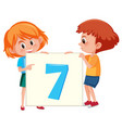 children holding number seven card vector image vector image