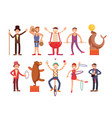 circus artists cartoon characters set vector image vector image