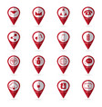 communication icons with location icon vector image