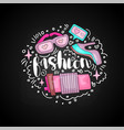 cute doodle fashion icons in round form colored vector image