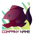 deep pink and purple piranha logo design on a vector image vector image
