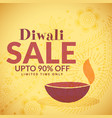 Diwali sale banner poster with diya vector image