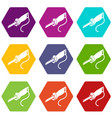 electric pole saw icons set 9 vector image