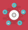 flat icons date watch whiteboard and other vector image vector image