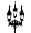 gothic street lamp silhouette vector image vector image