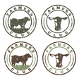 grunge labels set of farmers club with cows vector image vector image