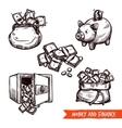 Hand drawn finance symbols set doodle vector image