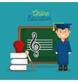 happy boy graduation education online design vector image