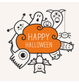 Happy Halloween contour outline doodle Ghost bat vector image vector image