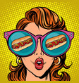 hot dog sausage ketchup mustard woman reflection vector image vector image
