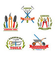 icons of farm gardening tools vector image vector image