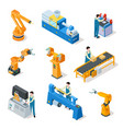 industrial robots isometric machines assembly vector image vector image