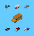 isometric automobile set of freight truck first vector image vector image