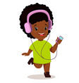 little african girl running and listening to the vector image