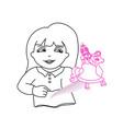little girl reading magic book vector image