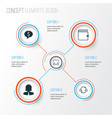 Management icons set collection of deal wallet vector image