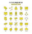 marketing icon set yellow futuro latest design vector image vector image