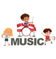 music font and kids character vector image vector image