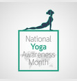 national yoga awareness month icon vector image vector image