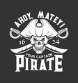 pirate skull with sabers t-shirt print vector image vector image