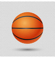 realistic flying basketball closeup vector image vector image