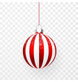 red christmas ball with snow effect xmas glass vector image vector image