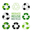 reduce reuse recycle logotype set green arrows vector image vector image