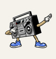 retro boombox stereo tape mascot character vector image vector image