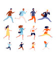 running persons sport casual and business people vector image vector image