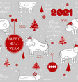 seamless new year 2021 pattern funny christmas vector image vector image