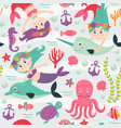 seamless pattern with mermaid and marine animals vector image vector image