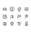 Search black line icons set vector image