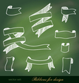 set of ribbons for design on blackboard vector image vector image