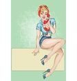 Sexy Pin-up woman with phone answer the call vector image vector image